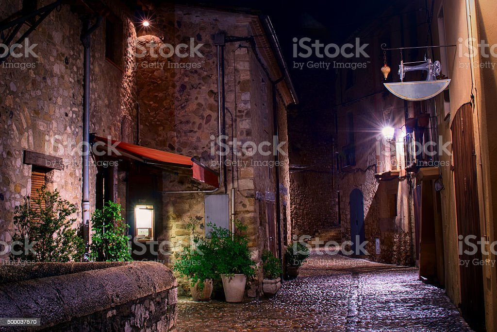 Medieval town with bridge. Besalu, Catalonia, Spain stock photo