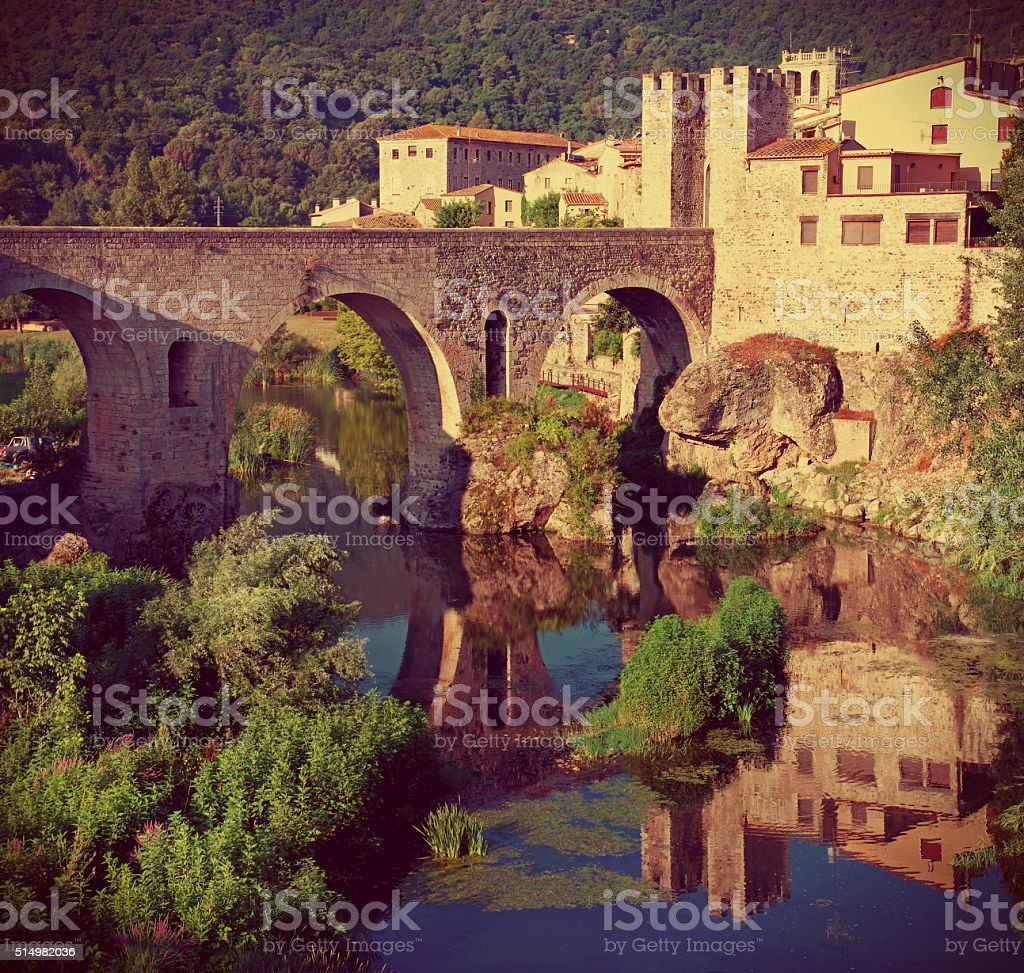 Medieval town with bridge. Besalu,  Spain stock photo
