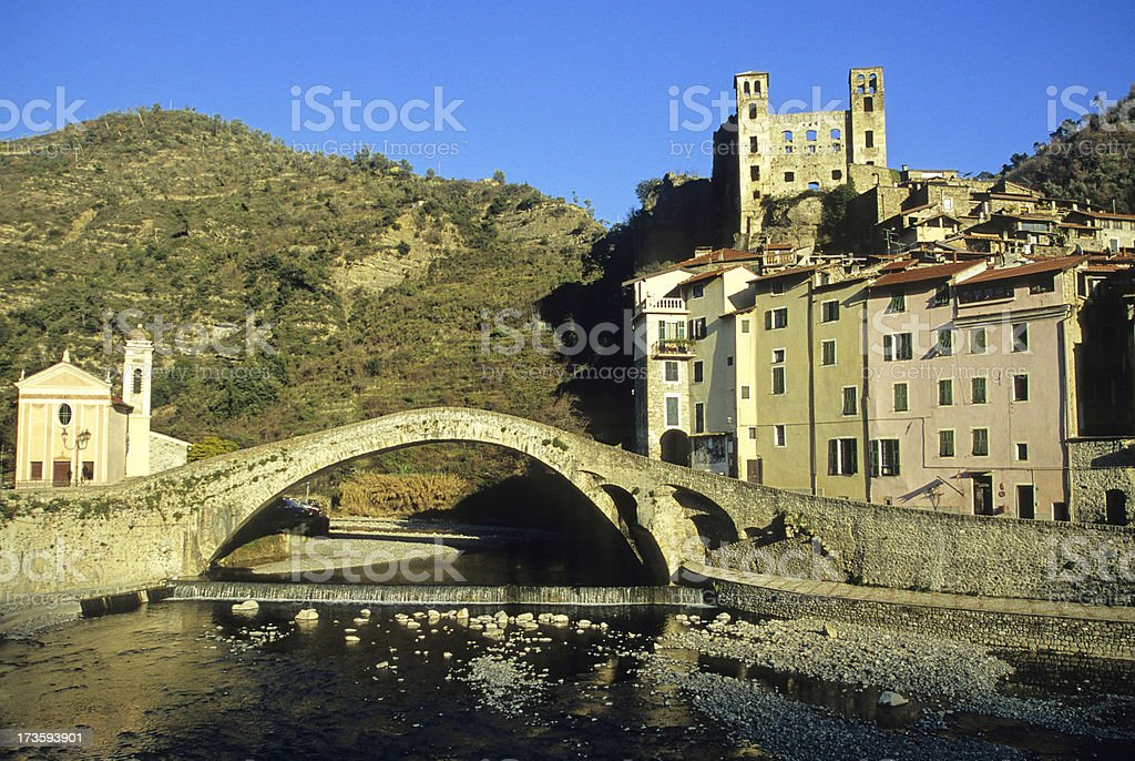 Medieval township of Dolceacqua in Italy stock photo