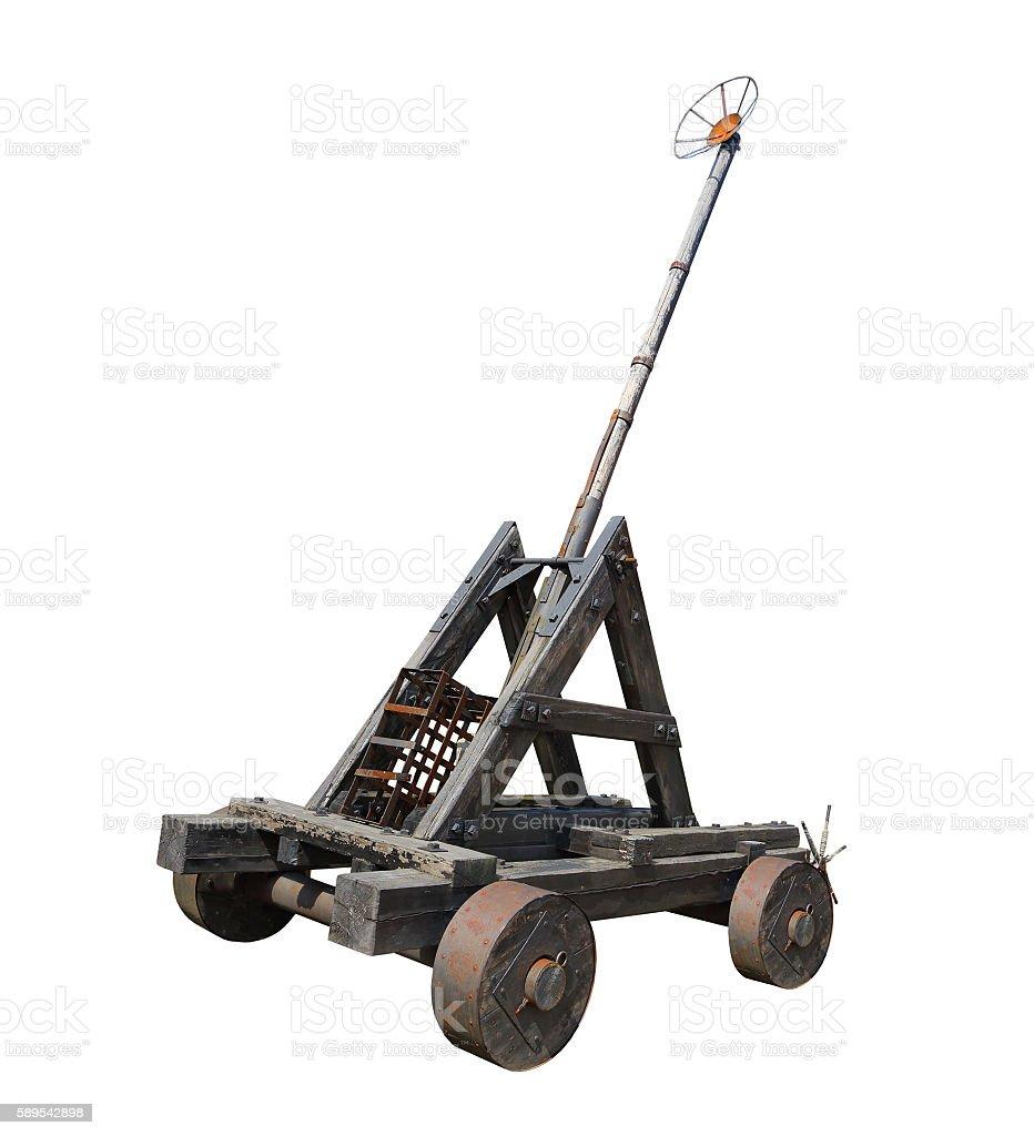 Medieval trebuchet or catapult. stock photo