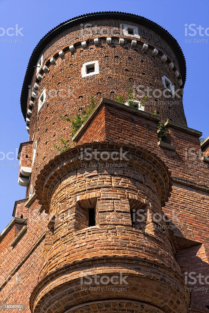 Medieval turret at Royal Wawel castle, Krakow, Poland stock photo