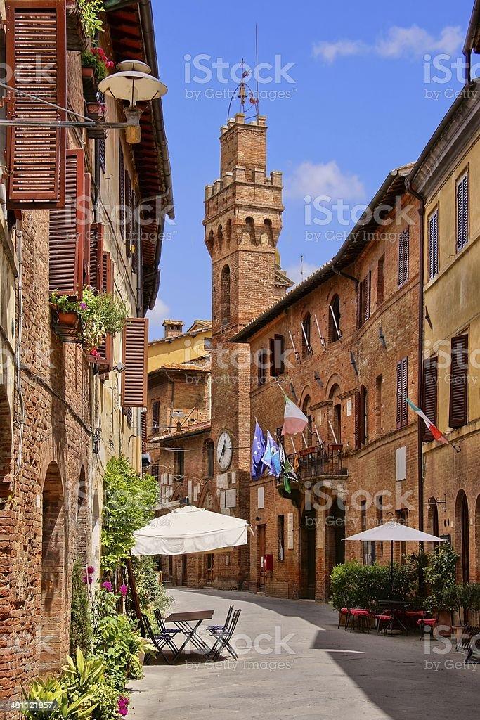 Medieval Tuscan street stock photo