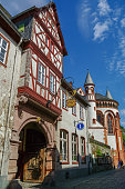 Medieval village Bacharach. Traditional frameworks (Fachwerk) houses