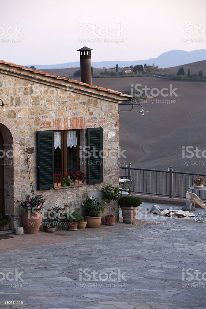Medieval village near Pienza stock photo