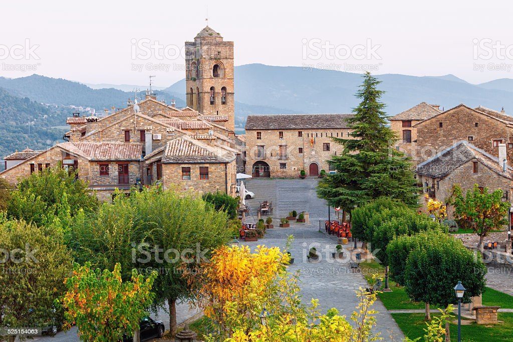 Medieval village of Ainsa,Huesca,Spain stock photo