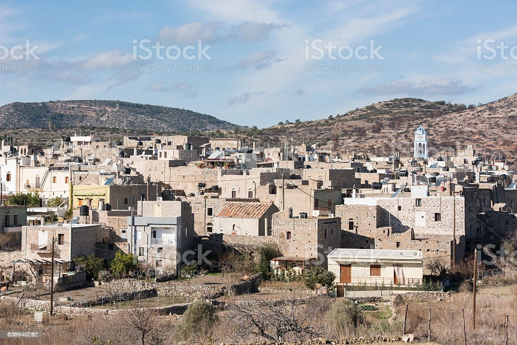 Medieval village of Olympi on Greek Island of Chios stock photo