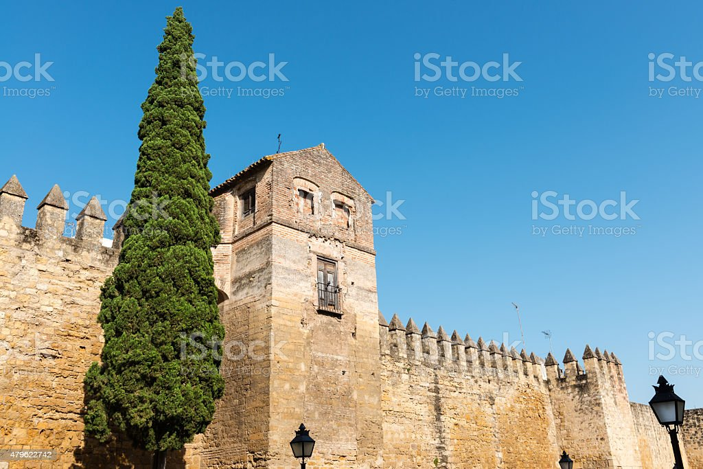 Medieval wall of the city of Cordoba, Spain stock photo