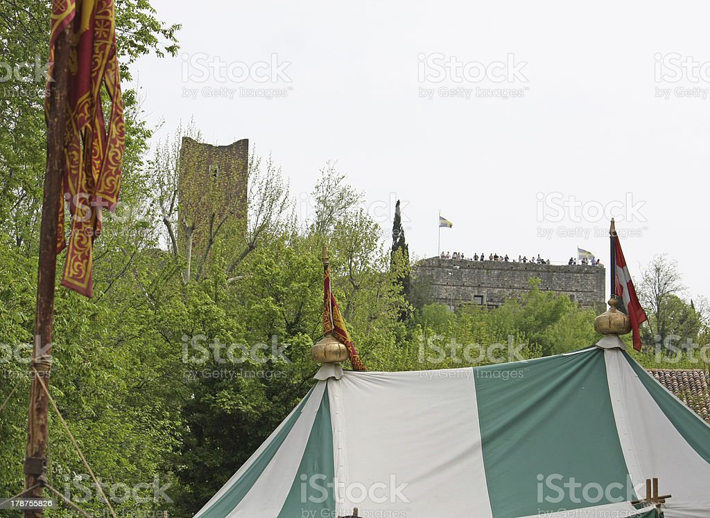 medieval walls and Castle stock photo