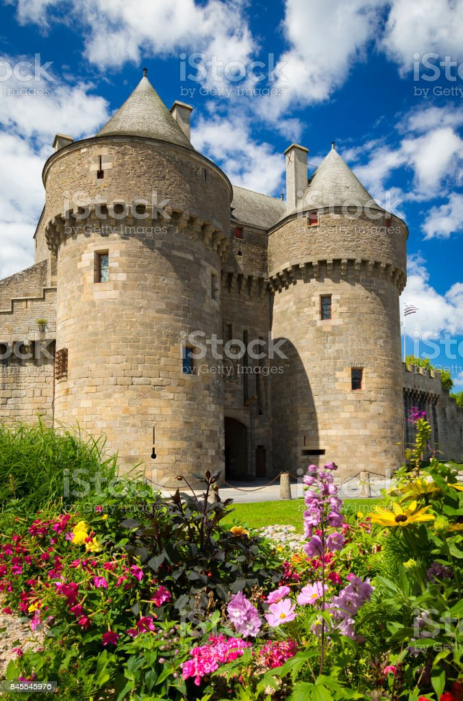 Medieval walls and churches of Guerande, France stock photo