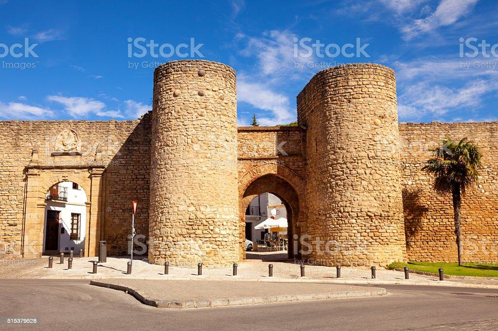 Medieval walls in Ronda, Spain stock photo