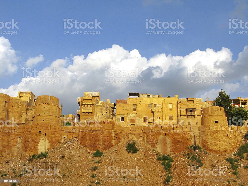 Medieval walls of Jaisalmer, the magnificent 'Golden City' in Rajasthan royalty-free stock photo