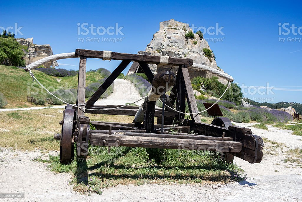 Medieval weapon Catapult stock photo