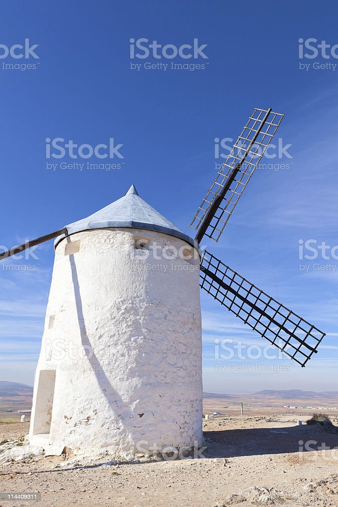 Medieval windmills in Consuegra, Toledo province, Spain stock photo