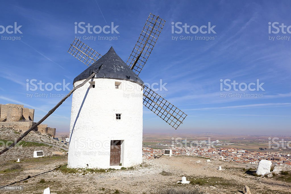 Medieval windmills in Consuegra, Toledo province, Spain royalty-free stock photo