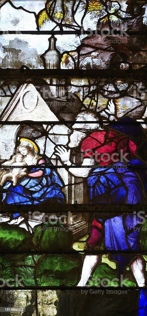 Medieval Window Santa Casa, Church Saint-Etienne, Beauvais, France royalty-free stock photo