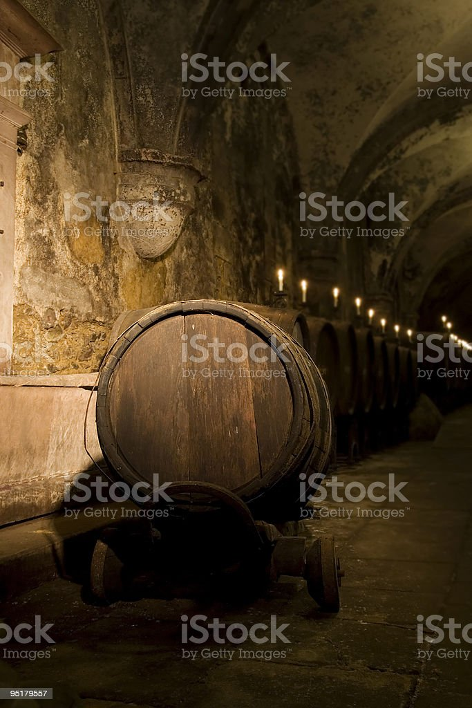Medieval wine cellar - Mysterious ambience royalty-free stock photo