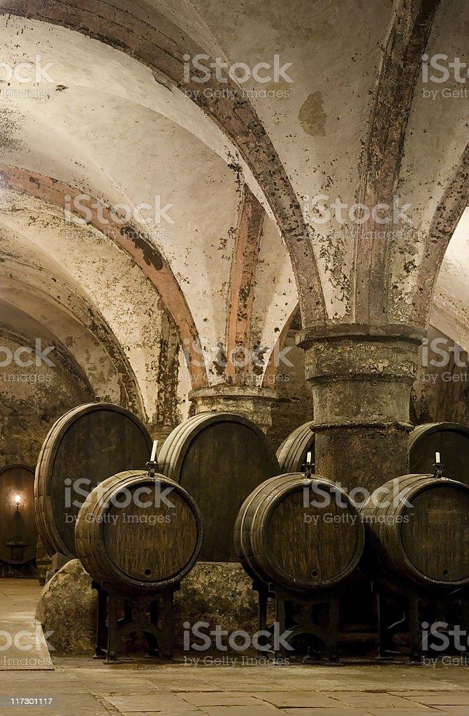 Medieval wine cellar stock photo