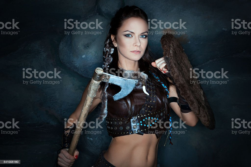 Medieval woman amazon. stock photo