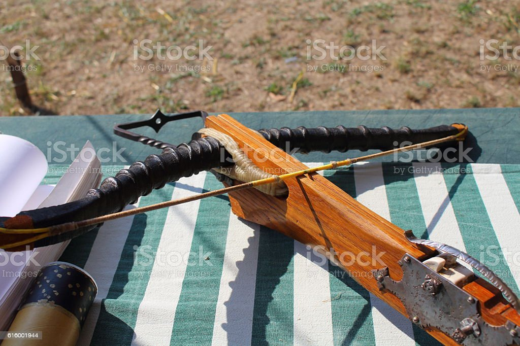 medieval wooden crossbow in exibition stock photo