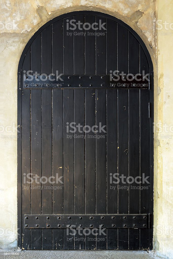 Medieval wooden door royalty-free stock photo