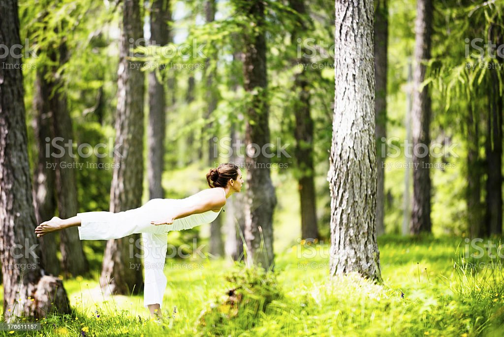 Meditating in the woods royalty-free stock photo