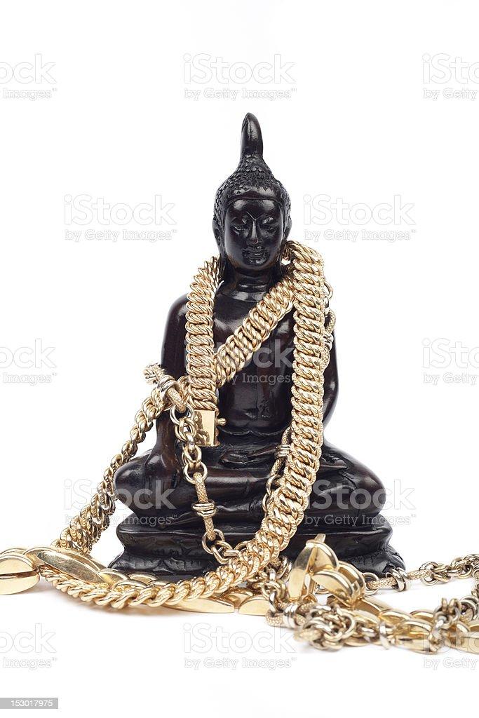 Meditating wood buddha royalty-free stock photo