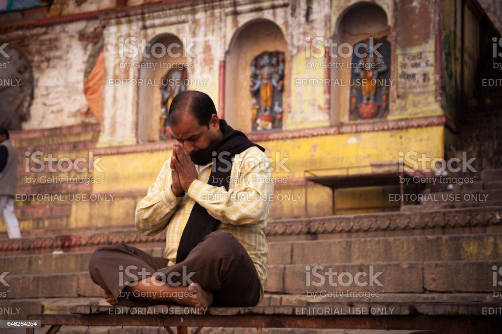 Meditation at Near Ganga River, Varanasi, India. stock photo