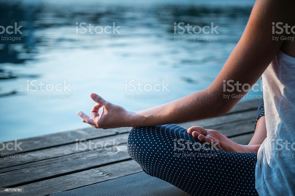 Meditation detail stock photo