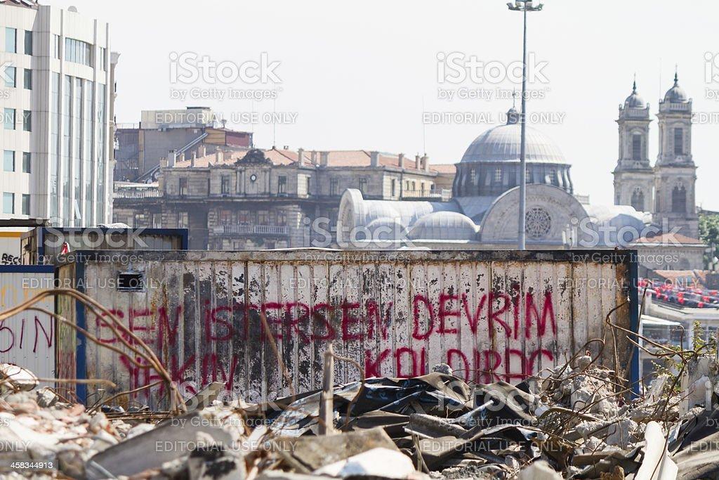 Meditation during Taksim Gezi Park Protest stock photo