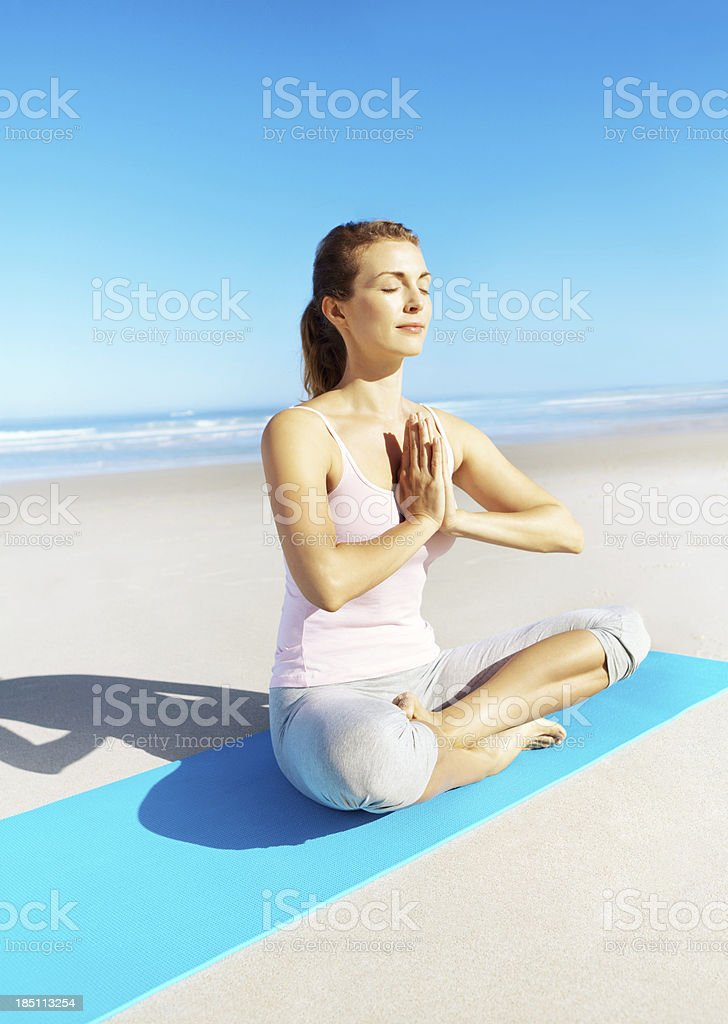 Meditation helps me to relax and stay healthy royalty-free stock photo