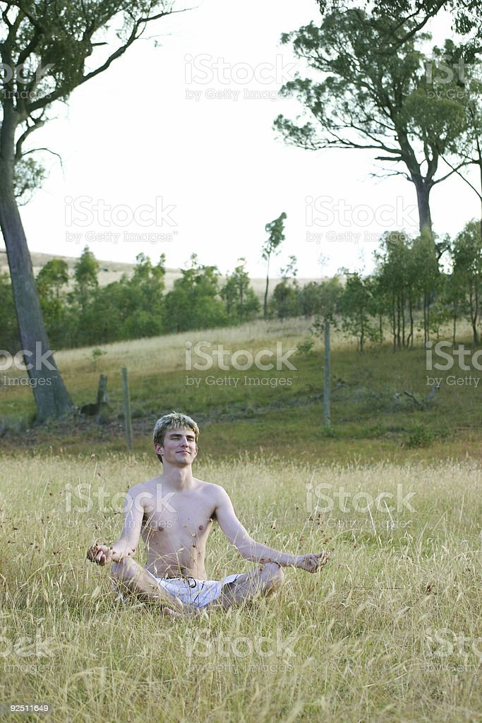 Meditation in nature stock photo