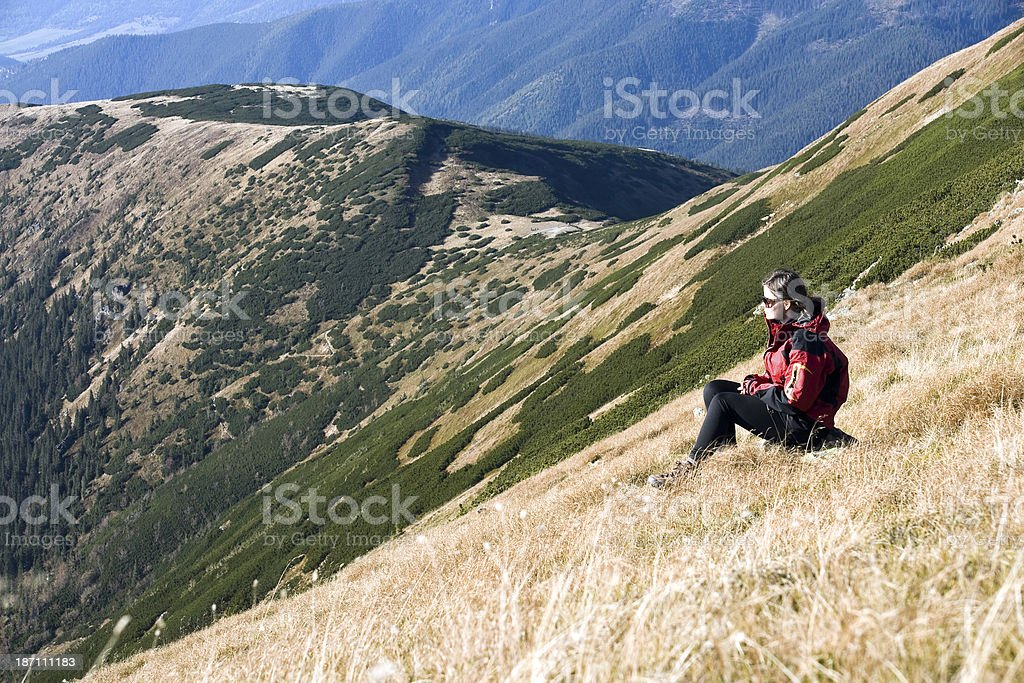 Meditation in the sunny mountains royalty-free stock photo