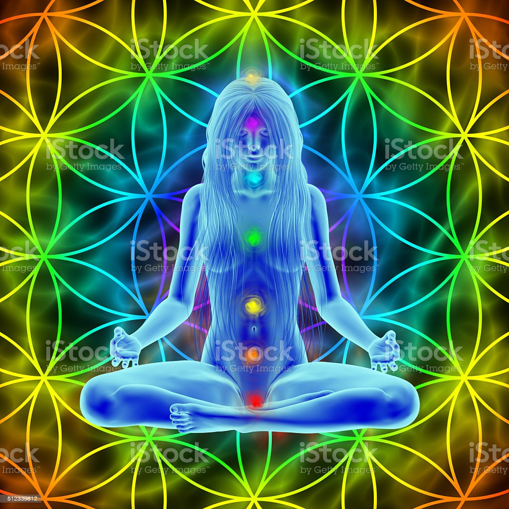 Meditation - long hair woman and flower of life stock photo
