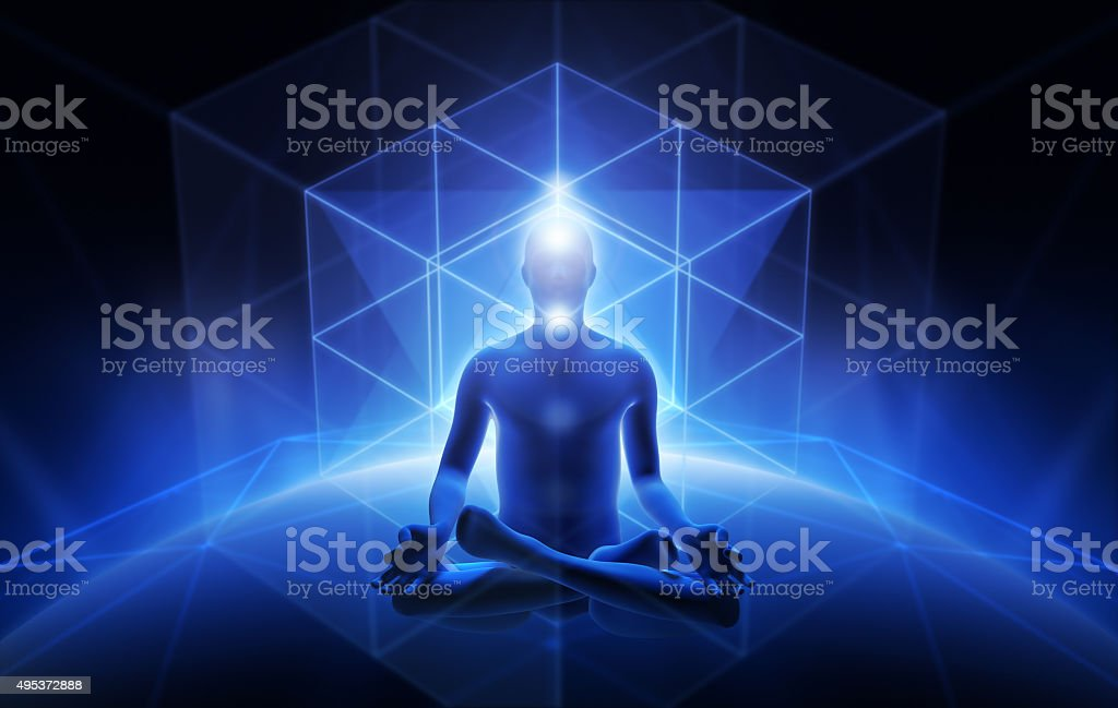 Meditation of man stock photo