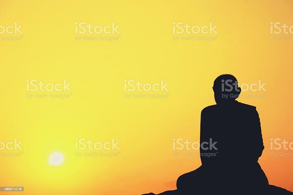 meditation of Thai monk statue stock photo