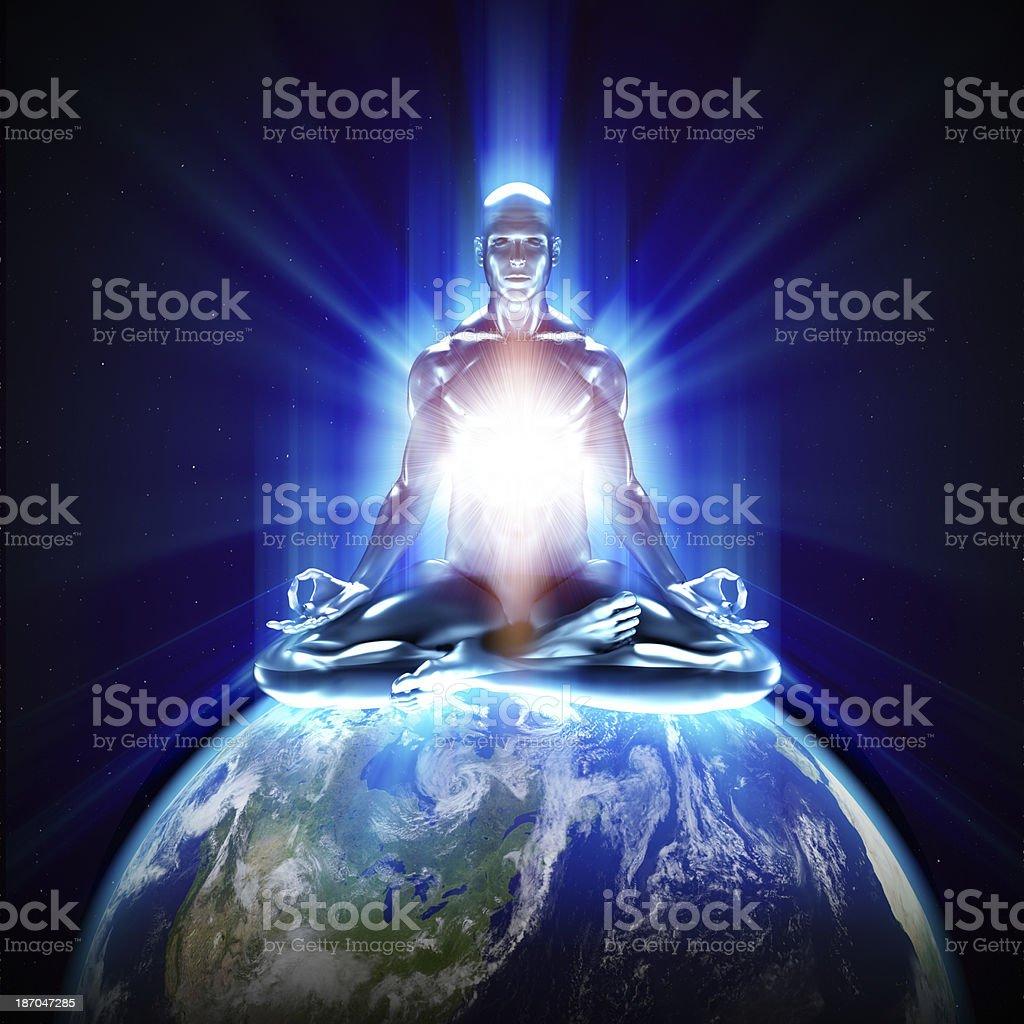 Meditation on earth stock photo