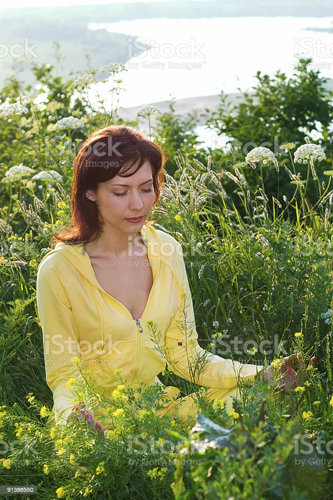 meditation on the meadow royalty-free stock photo