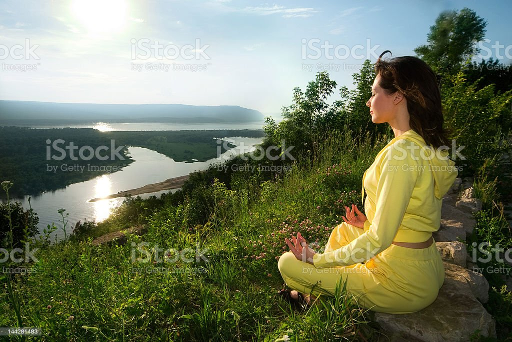 meditation on the mountain royalty-free stock photo