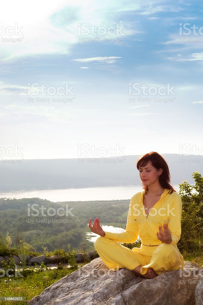 meditation on the mountain royalty-free stock photo
