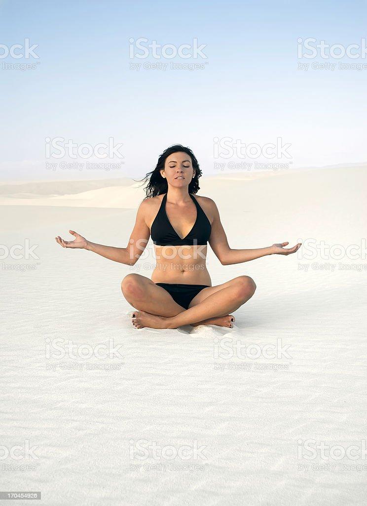 Meditation on white sands royalty-free stock photo