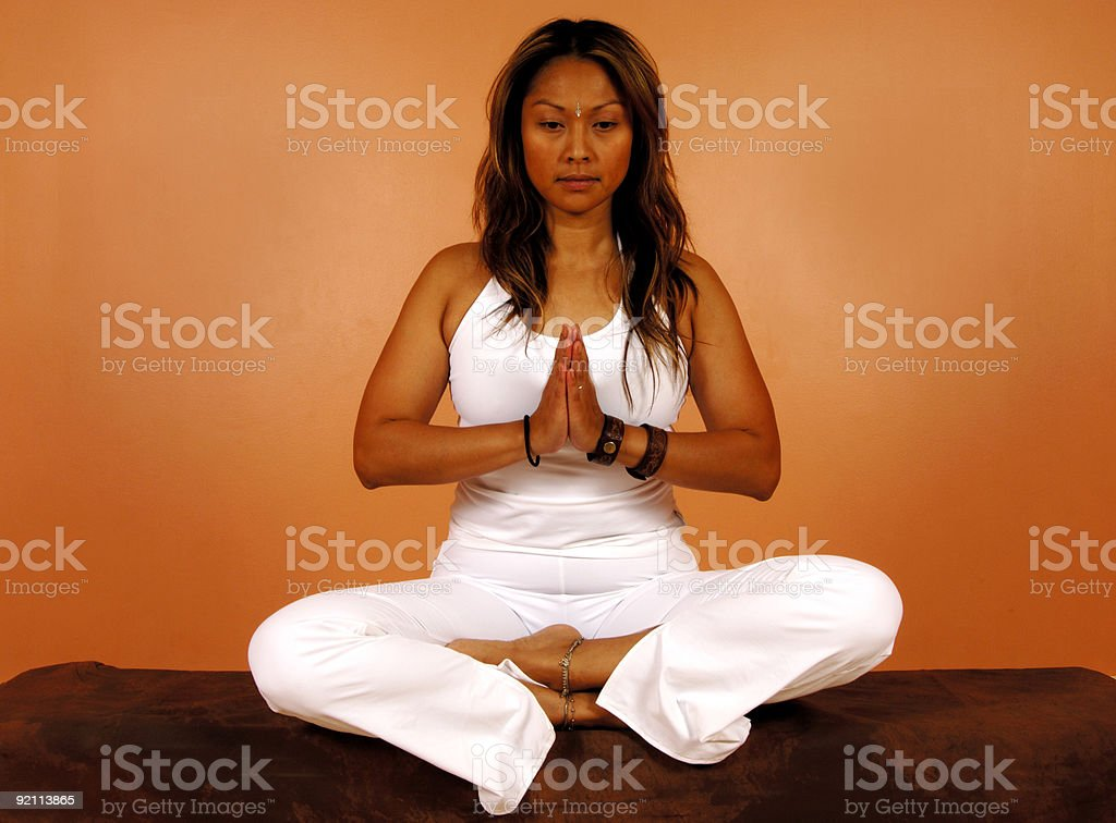 Meditation Pose at Ashram stock photo