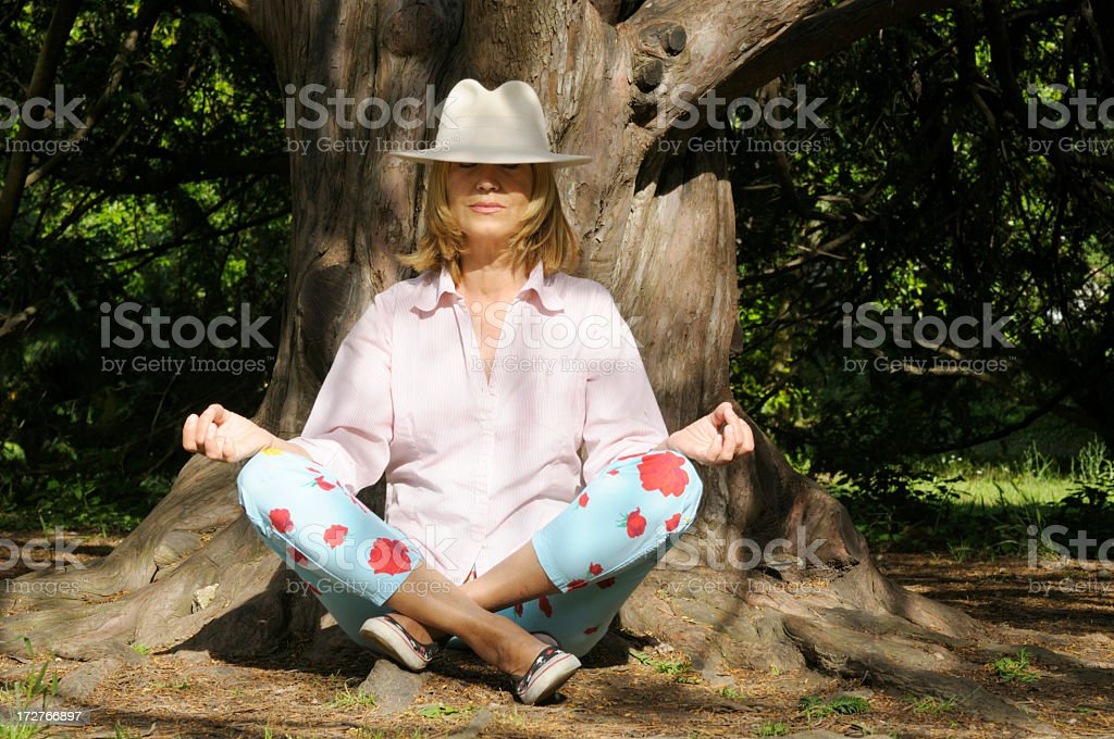 Meditation under a tree royalty-free stock photo