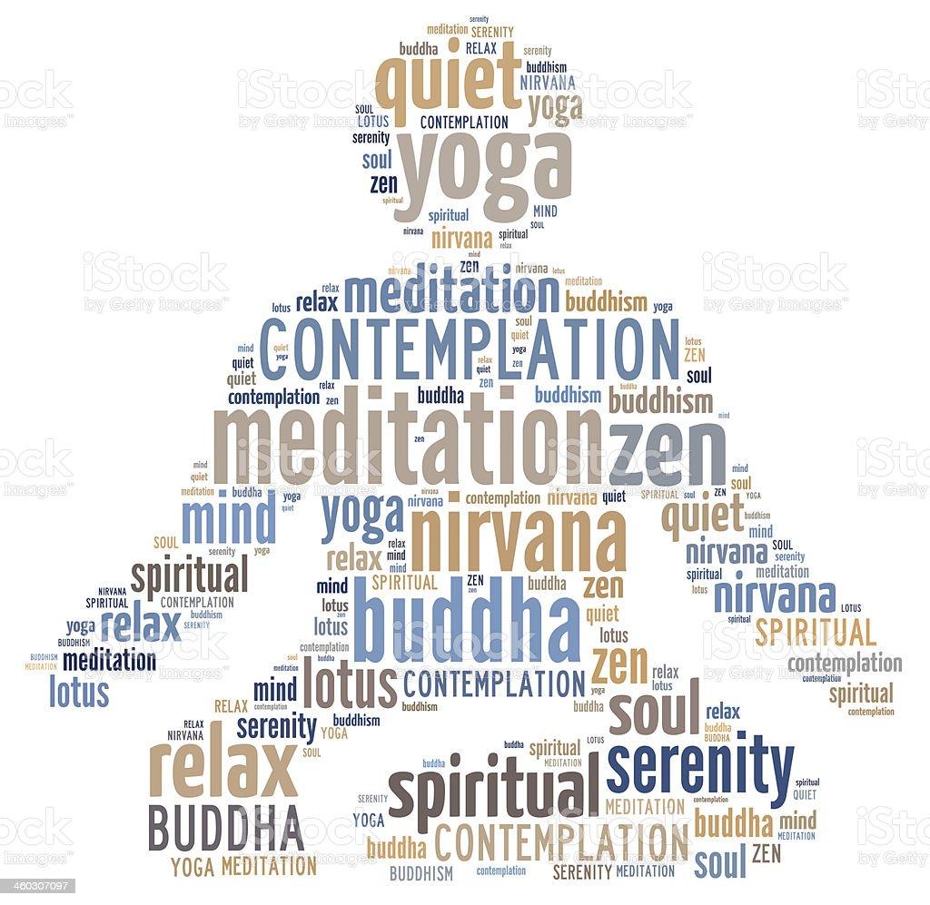 Meditation word cloud stock photo
