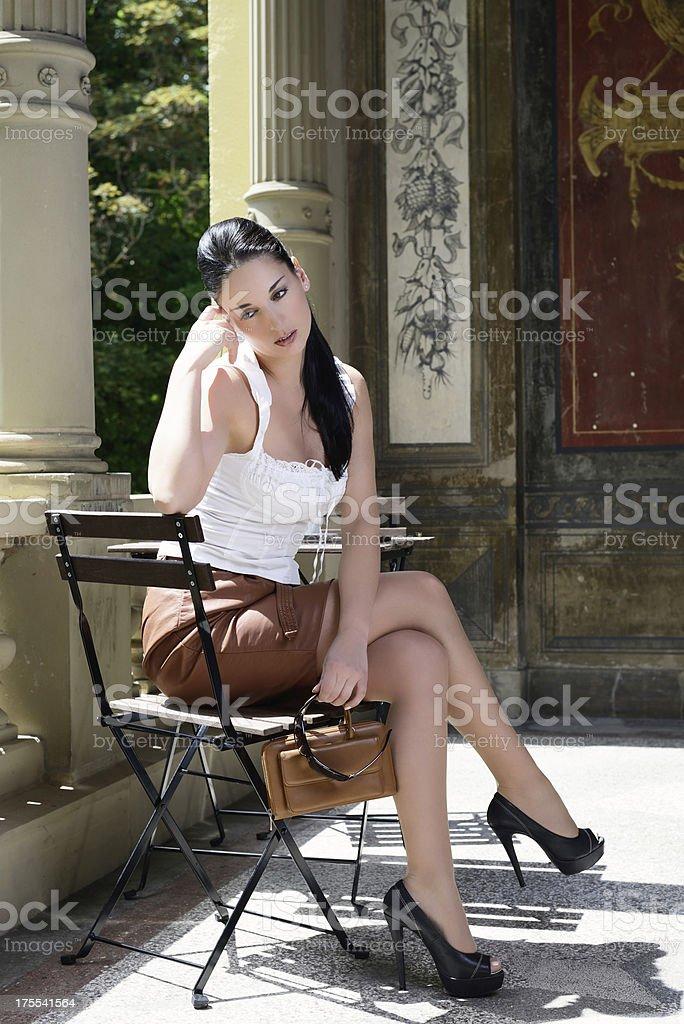 Meditative italian Woman waiting for Date at Balcony royalty-free stock photo