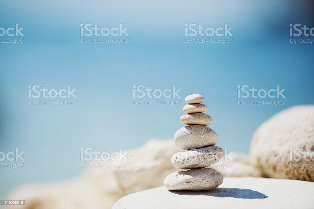 Meditative sea stones stock photo