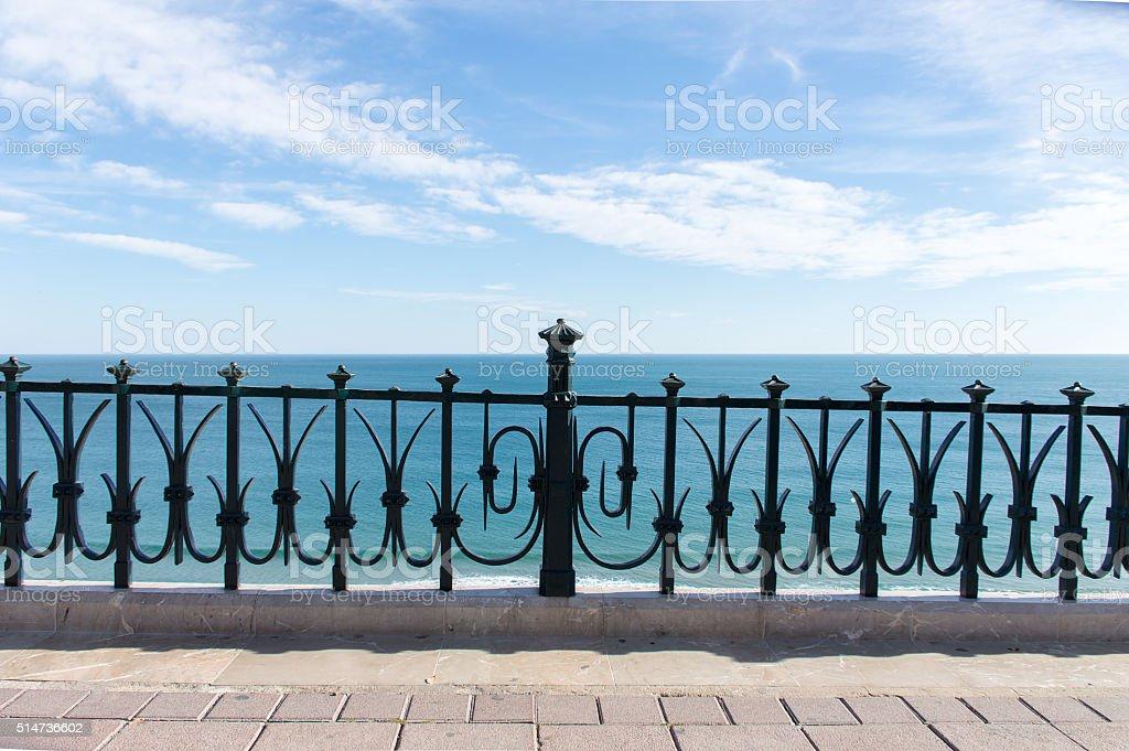 mediterranean balcony to the sea stock photo