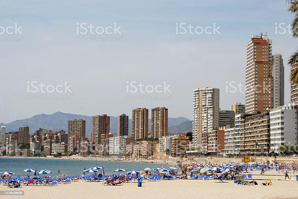 Mediterranean beach in Benidorm, Spain stock photo