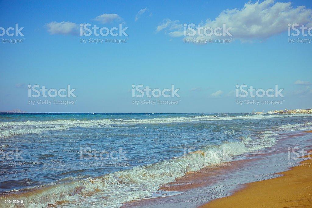 Mediterranean beach in Crete Heraklion stock photo