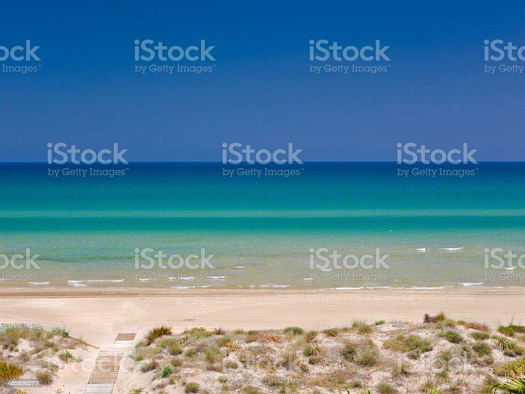 Mediterranean beach in summer, polarized (Medium format camera) stock photo
