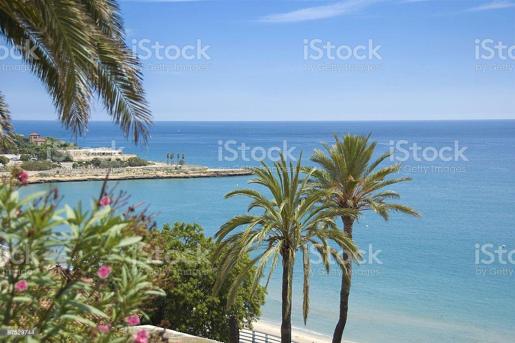 Mediterranean beach scene stock photo